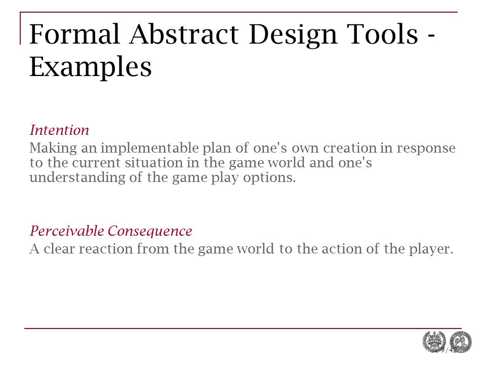 Formal Abstract Design Tools - Examples