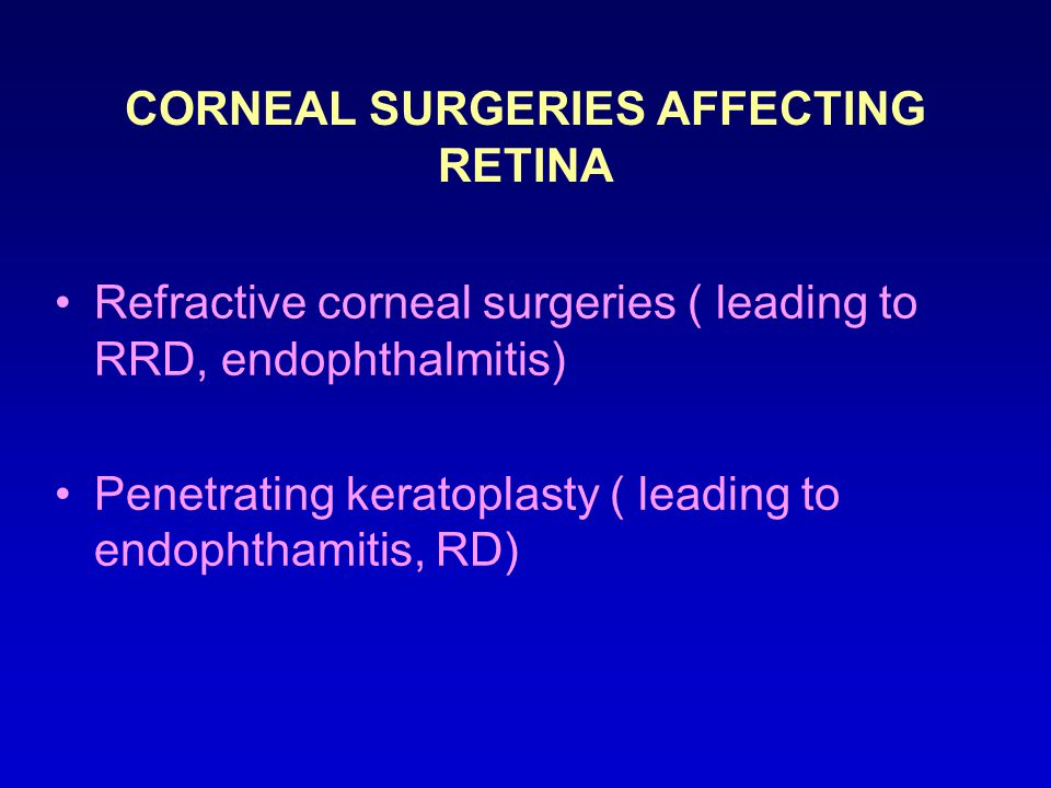 CORNEAL SURGERIES AFFECTING RETINA