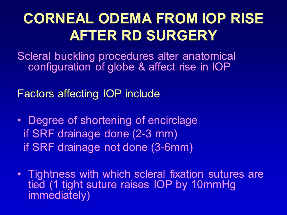 CORNEAL ODEMA FROM IOP RISE AFTER RD SURGERY