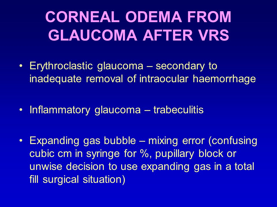 CORNEAL ODEMA FROM GLAUCOMA AFTER VRS