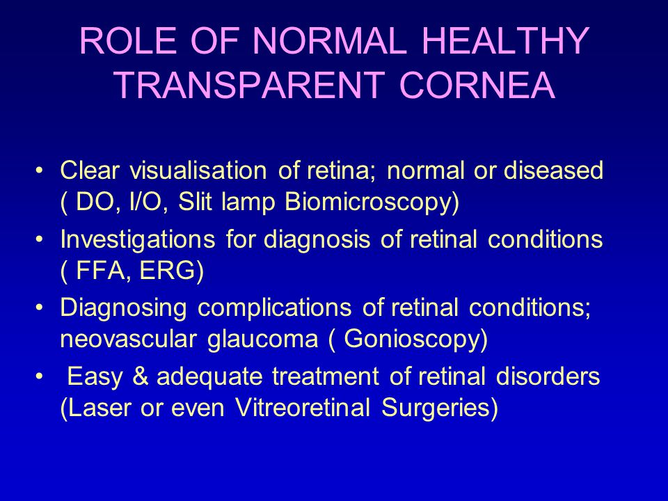ROLE OF NORMAL HEALTHY TRANSPARENT CORNEA