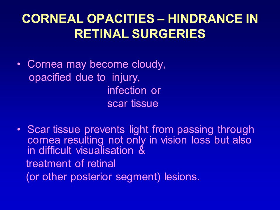CORNEAL OPACITIES – HINDRANCE IN RETINAL SURGERIES
