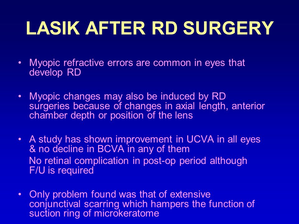 LASIK AFTER RD SURGERY Myopic refractive errors are common in eyes that develop RD.