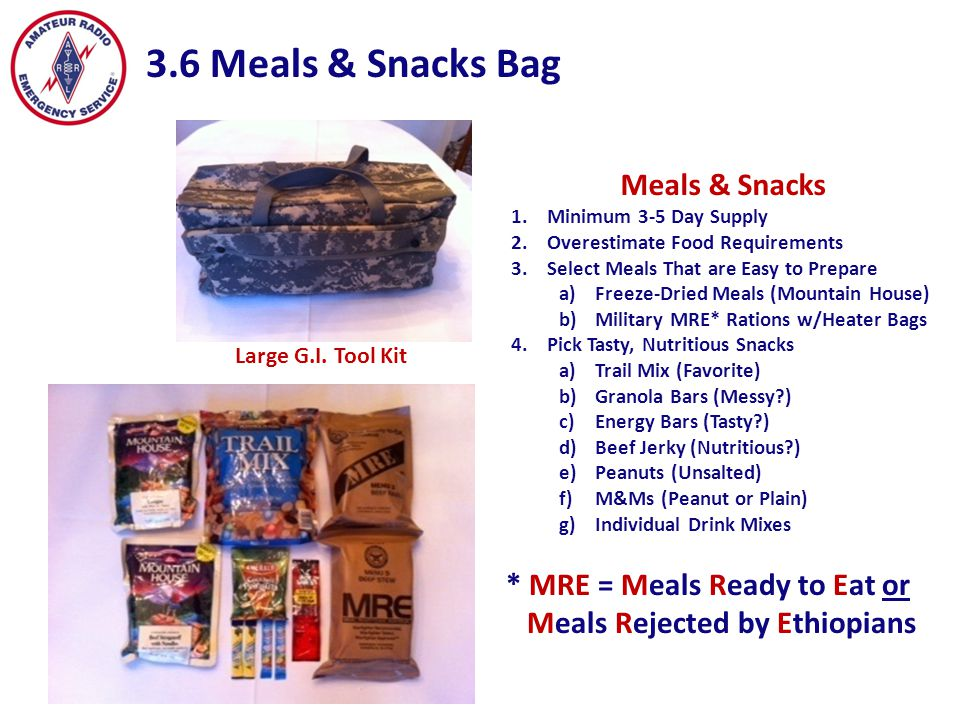 3.6 Meals & Snacks Bag Meals & Snacks * MRE = Meals Ready to Eat or