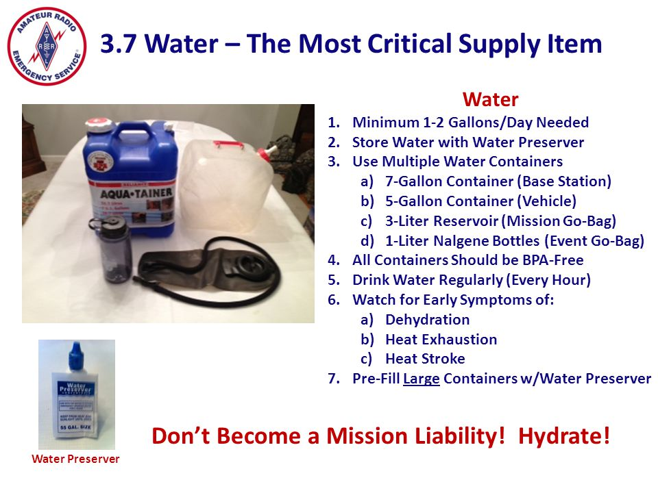 Don't Become a Mission Liability! Hydrate!