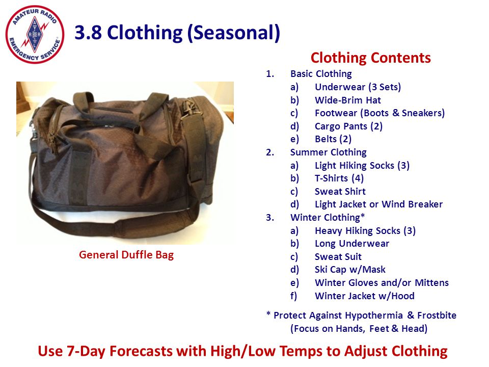 3.8 Clothing (Seasonal) Clothing Contents