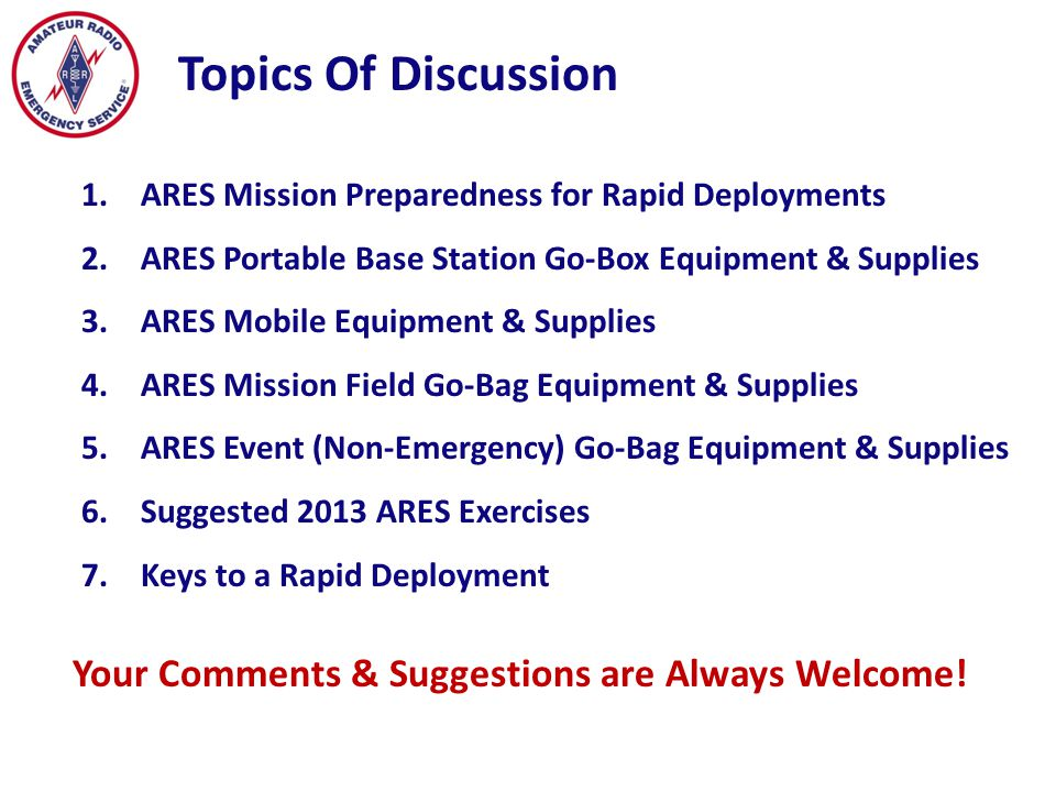 Topics Of Discussion Your Comments & Suggestions are Always Welcome!