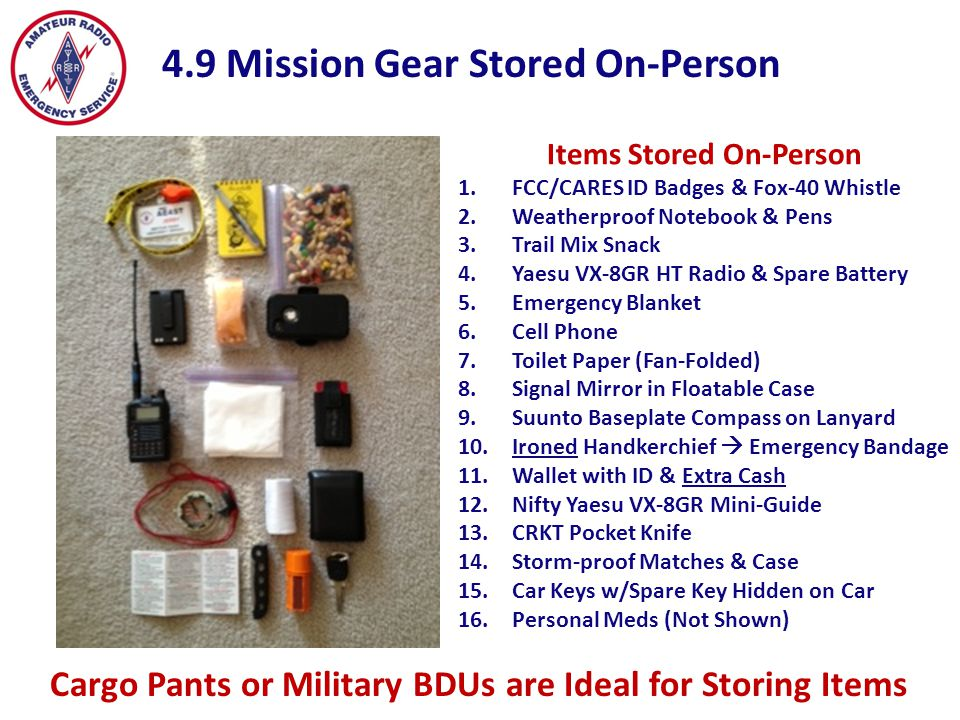 Items Stored On-Person