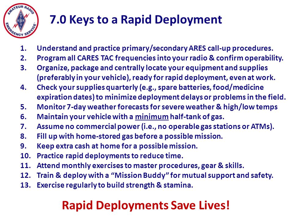 7.0 Keys to a Rapid Deployment