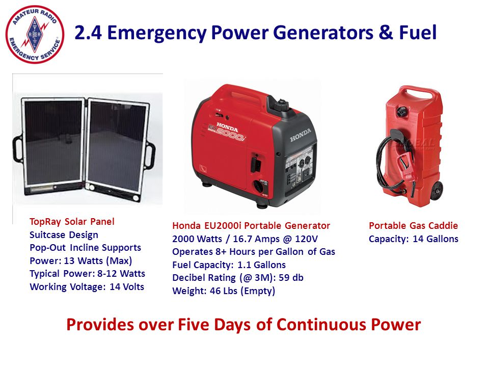 2.4 Emergency Power Generators & Fuel