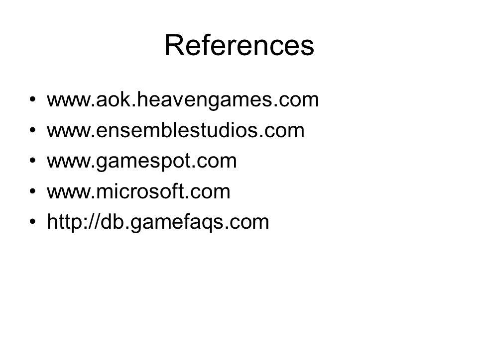 References www.aok.heavengames.com www.ensemblestudios.com