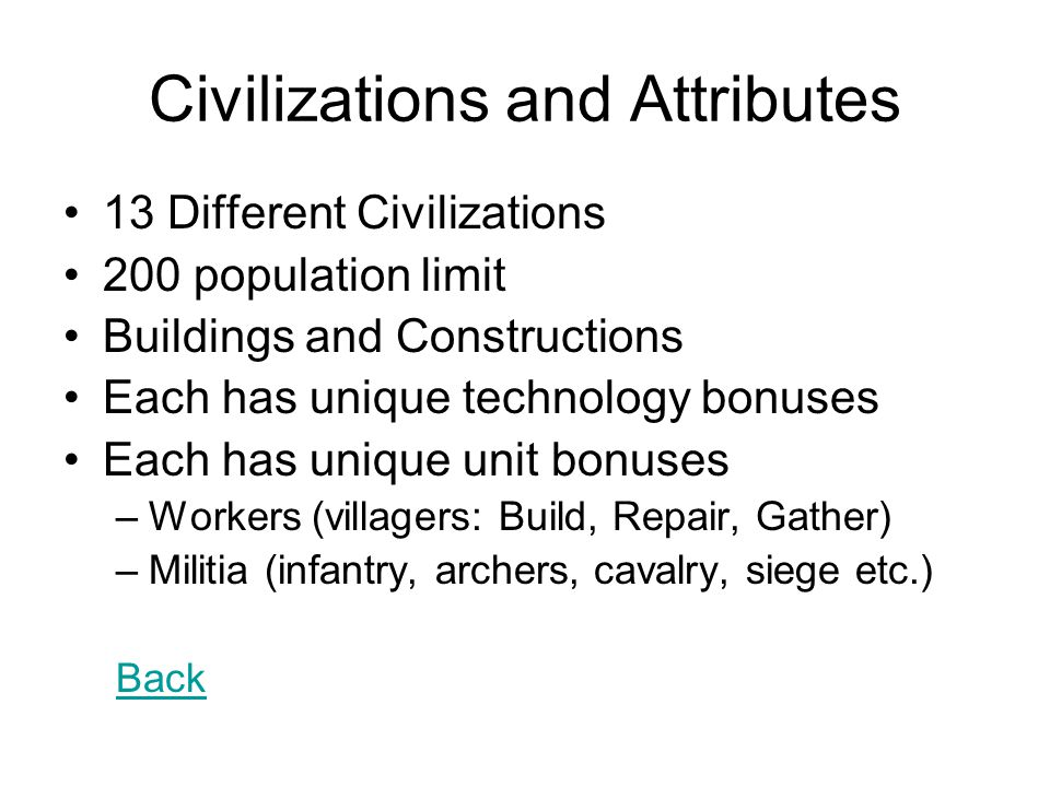 Civilizations and Attributes