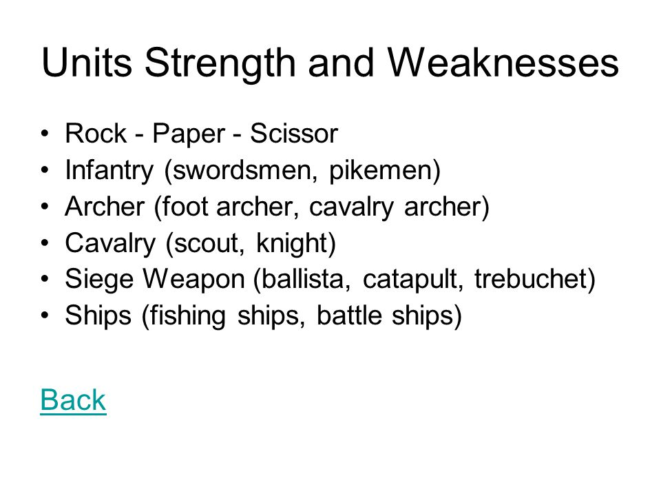 Units Strength and Weaknesses