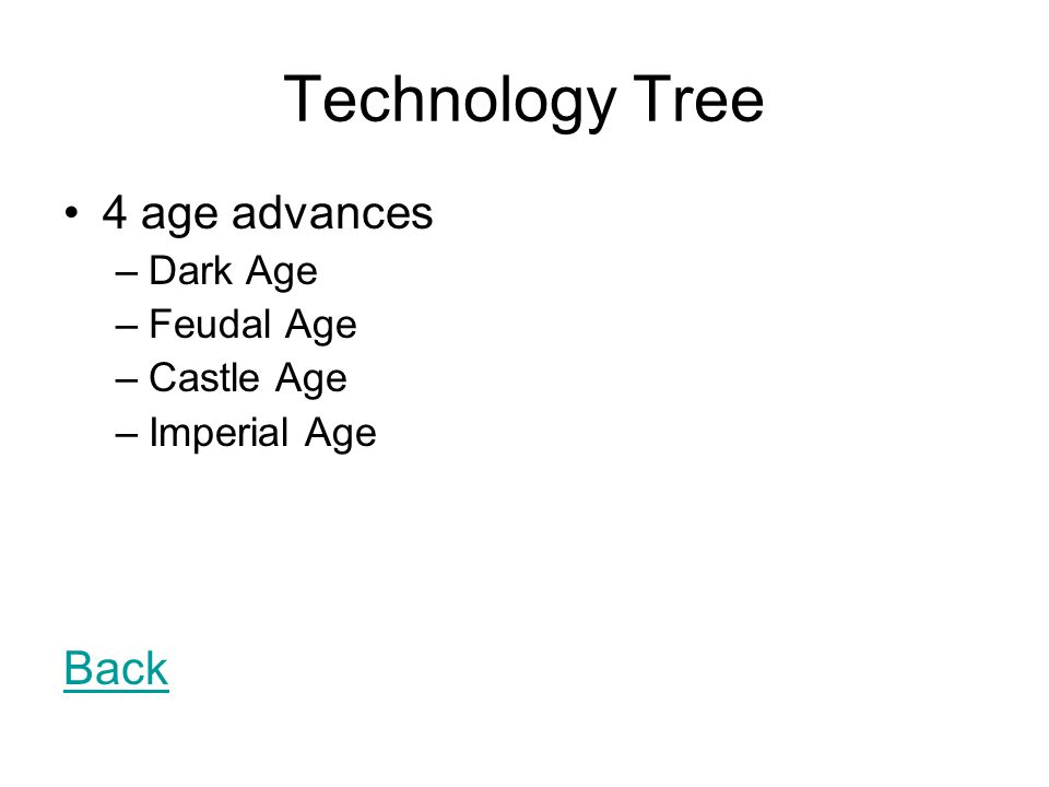 Technology Tree 4 age advances Back Dark Age Feudal Age Castle Age