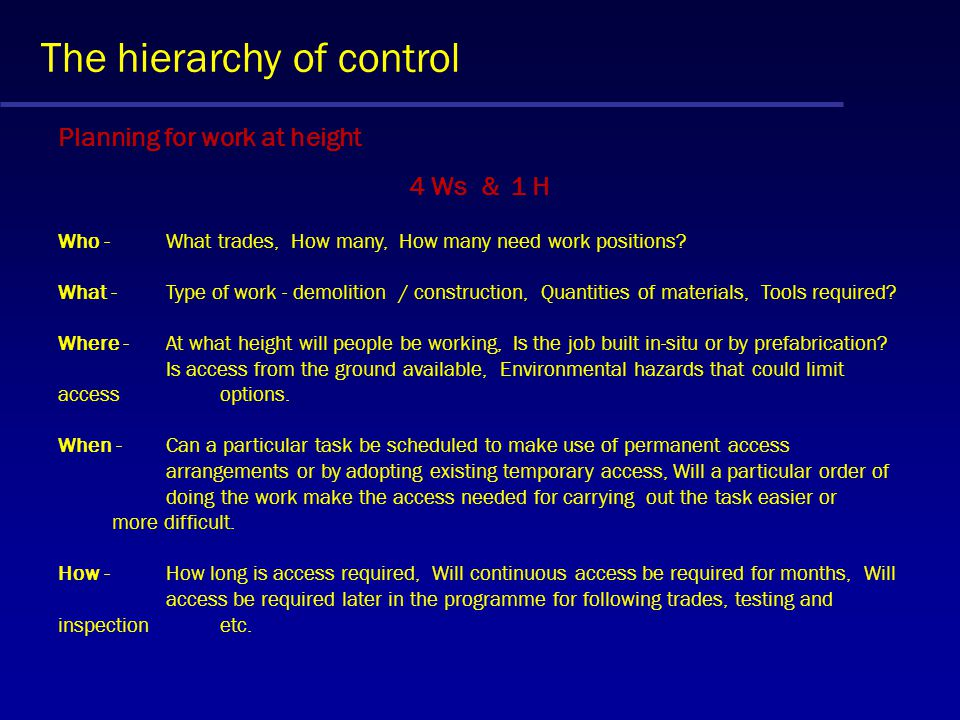 The hierarchy of control