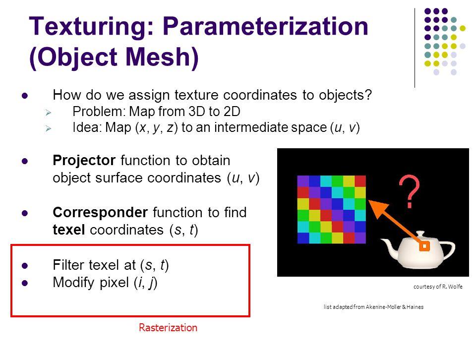 Texturing: Parameterization (Object Mesh)