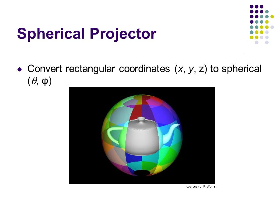Spherical Projector Convert rectangular coordinates (x, y, z) to spherical (, φ) courtesy of R.