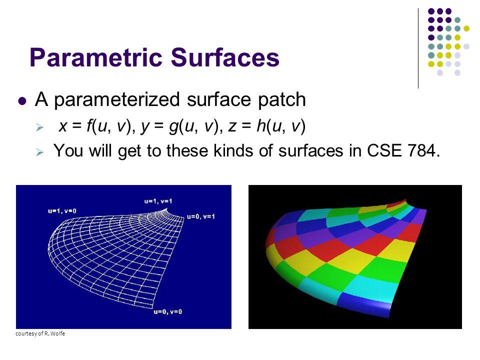 Parametric Surfaces A parameterized surface patch