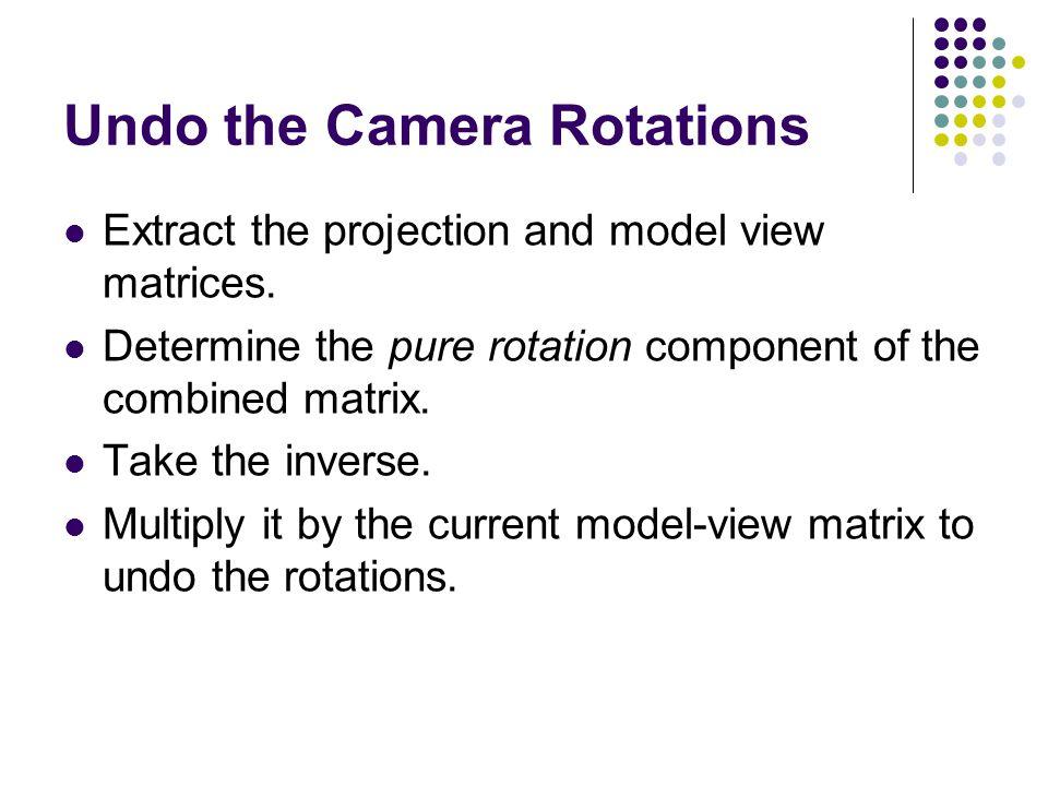 Undo the Camera Rotations