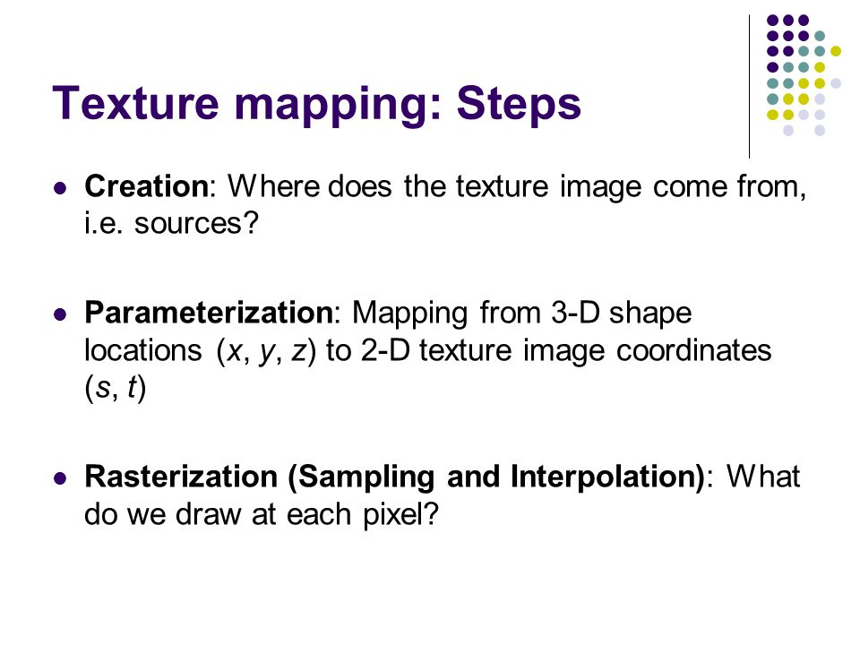 Texture mapping: Steps
