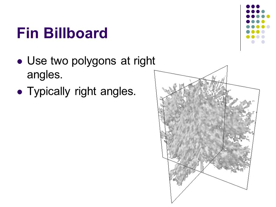 Fin Billboard Use two polygons at right angles.