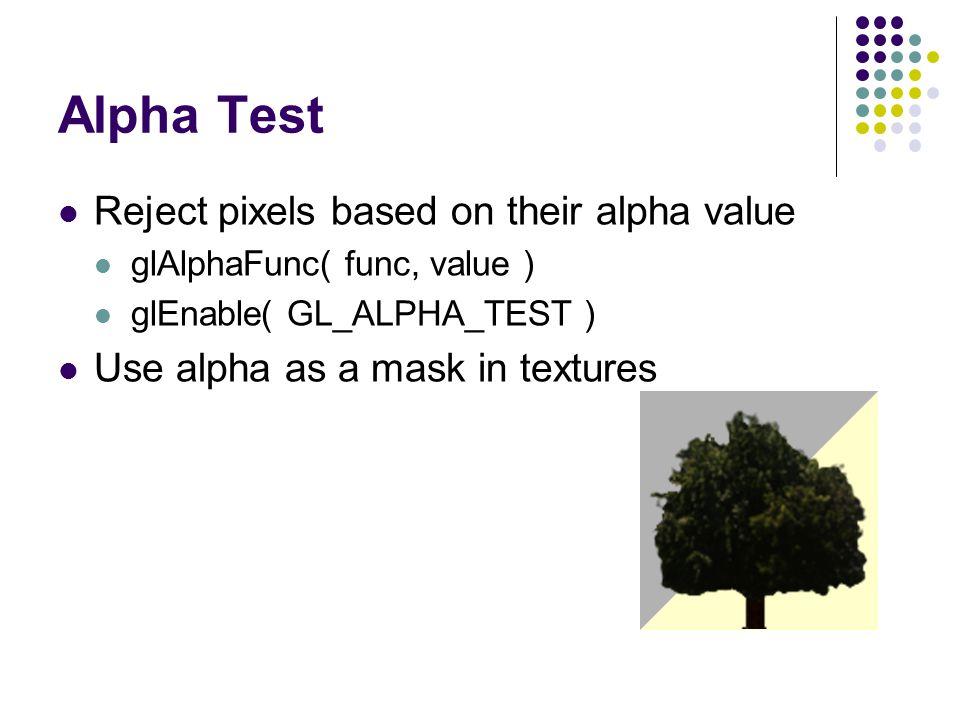 Alpha Test Reject pixels based on their alpha value