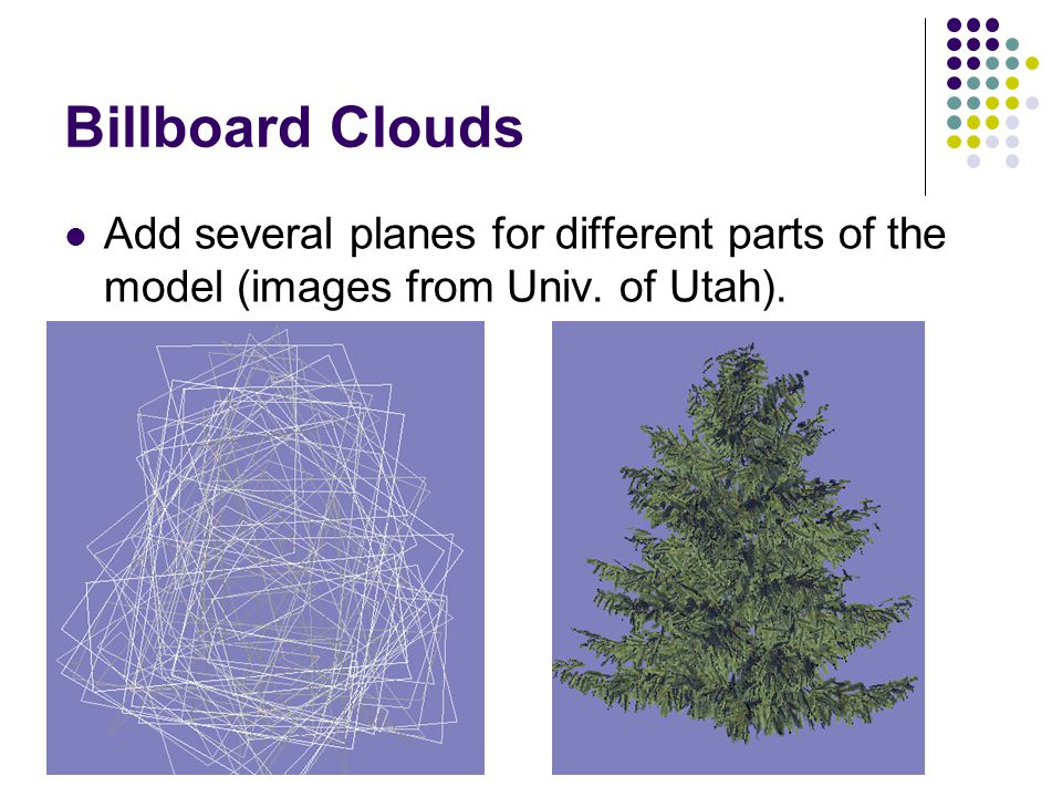 Billboard Clouds Add several planes for different parts of the model (images from Univ. of Utah).