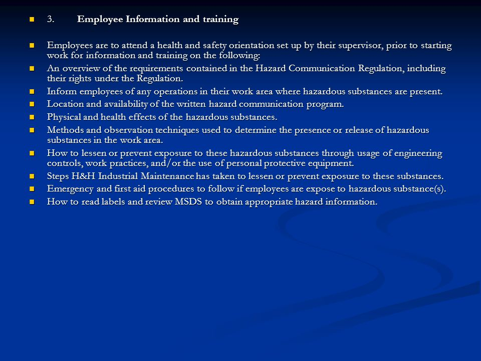 3. Employee Information and training