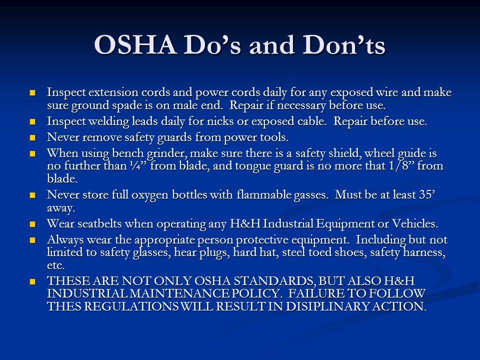 OSHA Do's and Don'ts