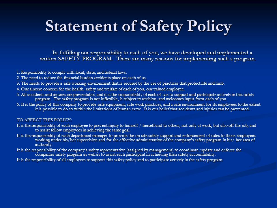 Statement of Safety Policy