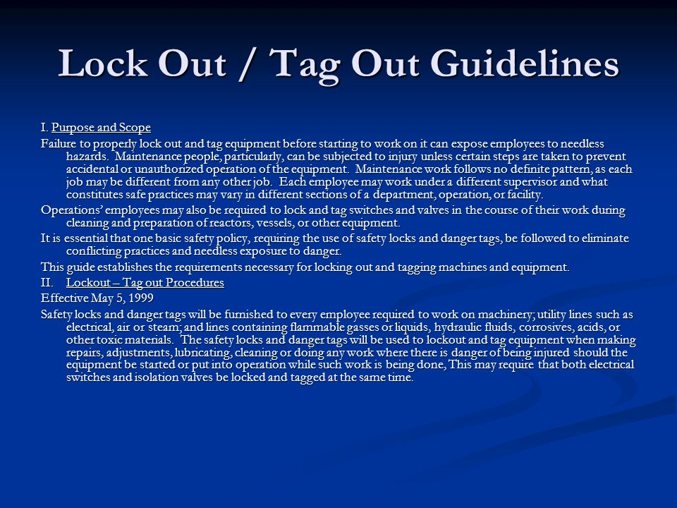 Lock Out / Tag Out Guidelines