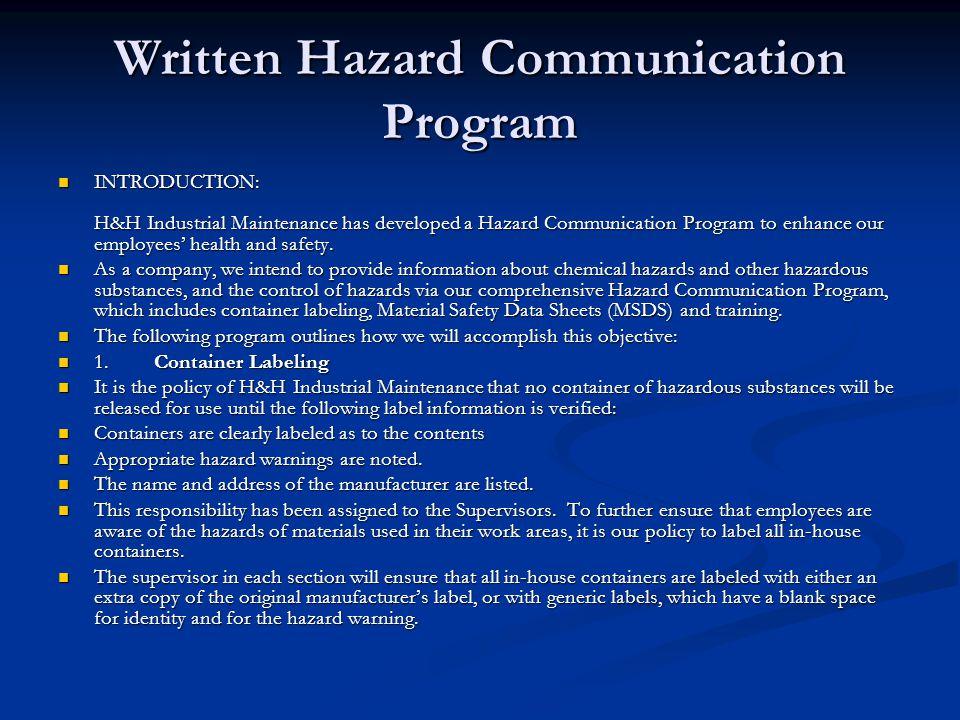 Written Hazard Communication Program
