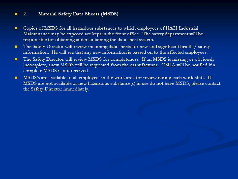 2. Material Safety Data Sheets (MSDS)
