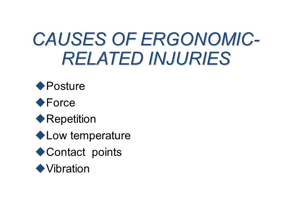 CAUSES OF ERGONOMIC- RELATED INJURIES