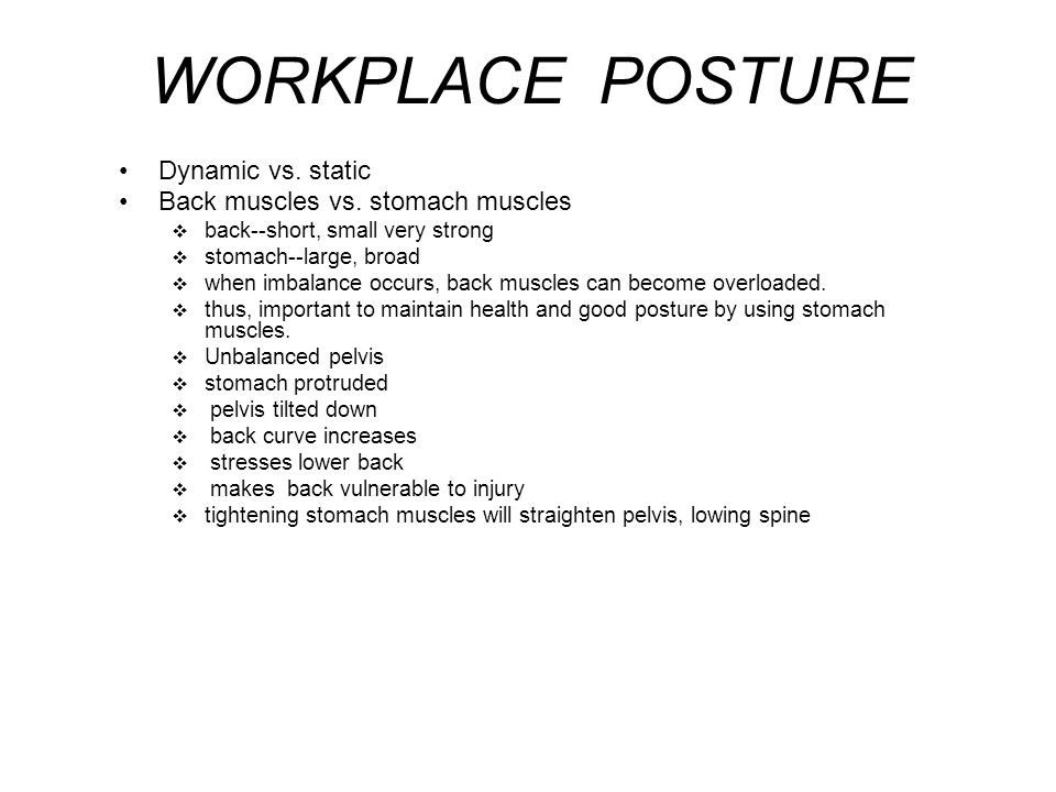 WORKPLACE POSTURE Dynamic vs. static Back muscles vs. stomach muscles