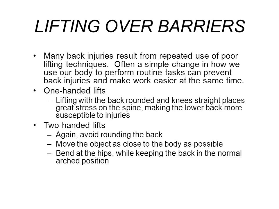 LIFTING OVER BARRIERS