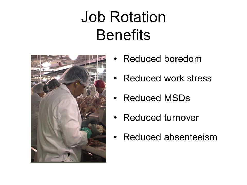 Job Rotation Benefits Reduced boredom Reduced work stress Reduced MSDs