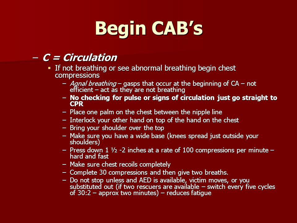 Begin CAB's C = Circulation