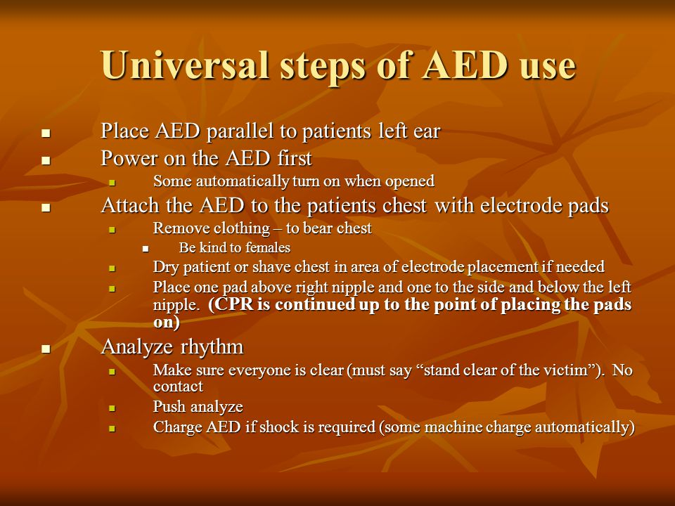 Universal steps of AED use