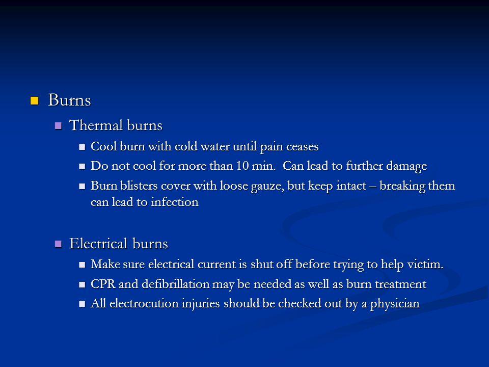 Burns Thermal burns Electrical burns