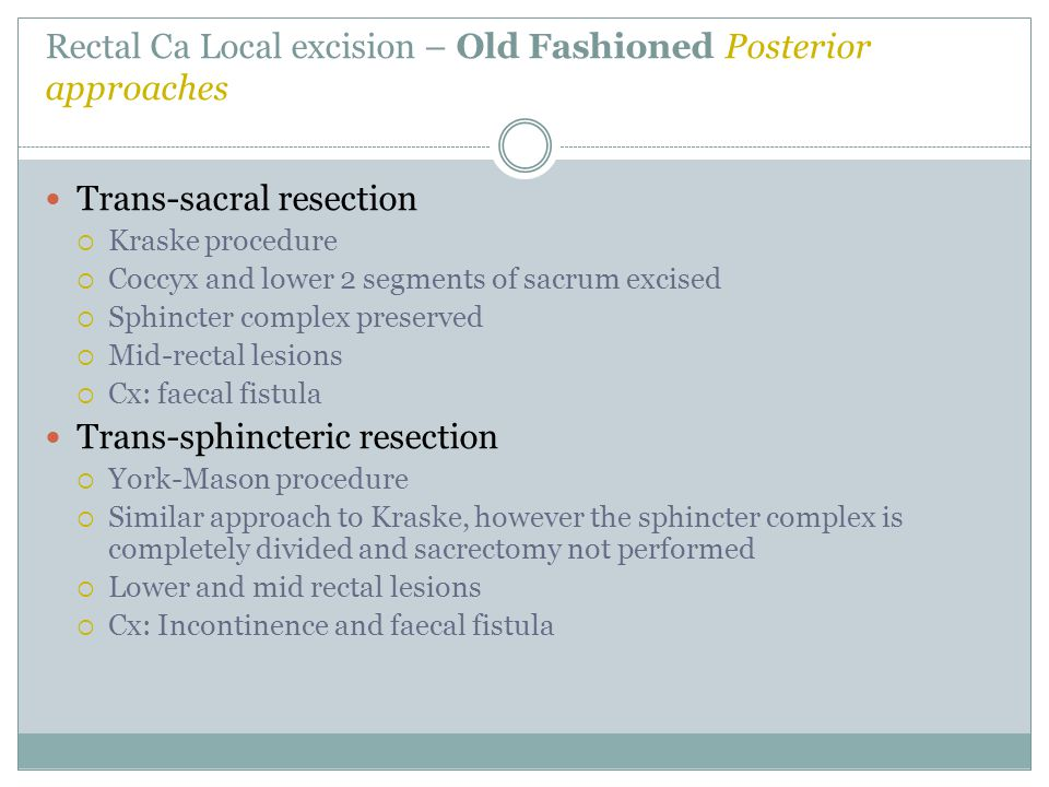 Rectal Ca Local excision – Old Fashioned Posterior approaches