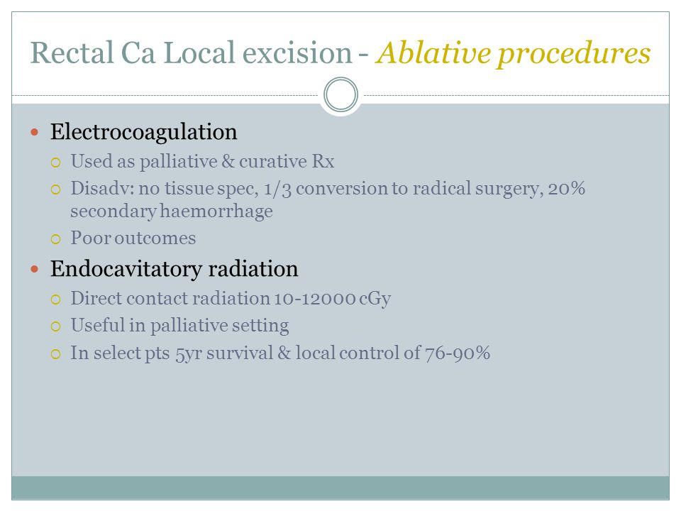 Rectal Ca Local excision - Ablative procedures