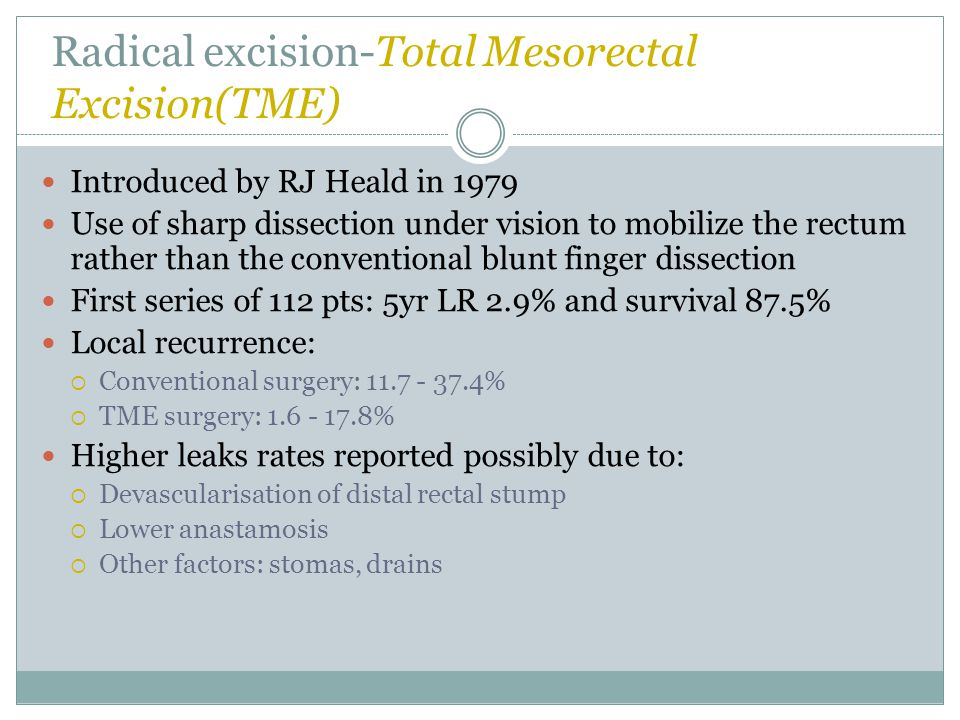 Radical excision-Total Mesorectal Excision(TME)