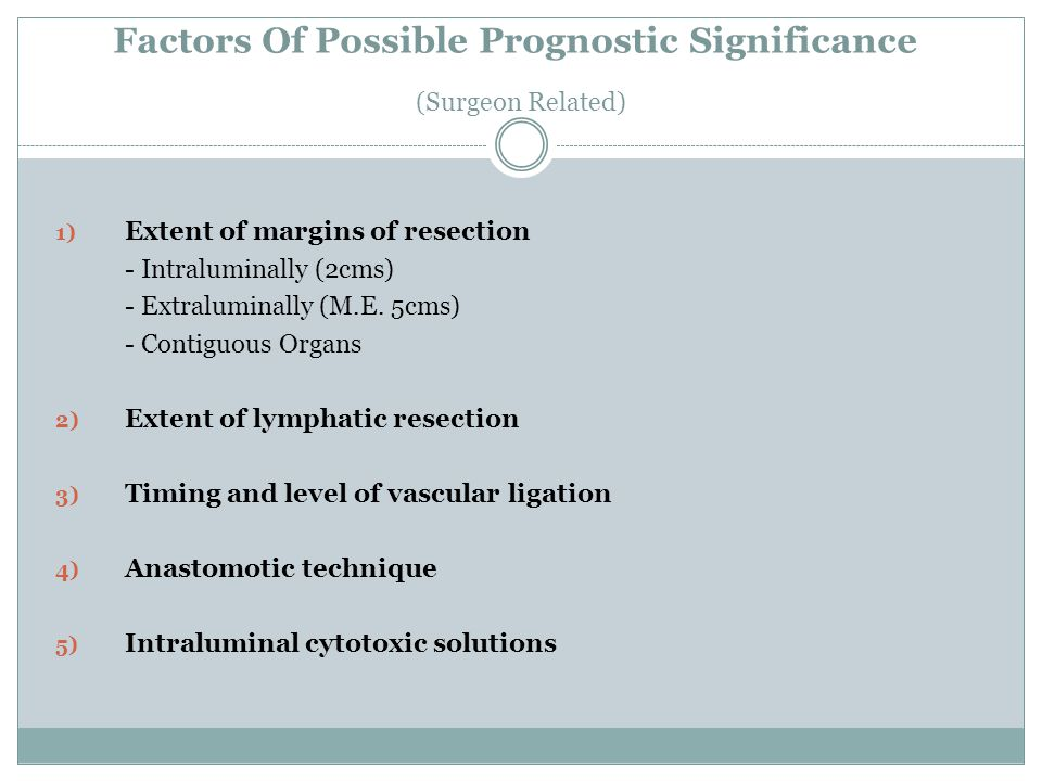 Factors Of Possible Prognostic Significance (Surgeon Related)