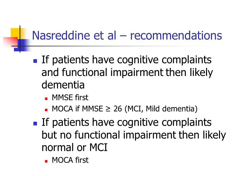 Nasreddine et al – recommendations