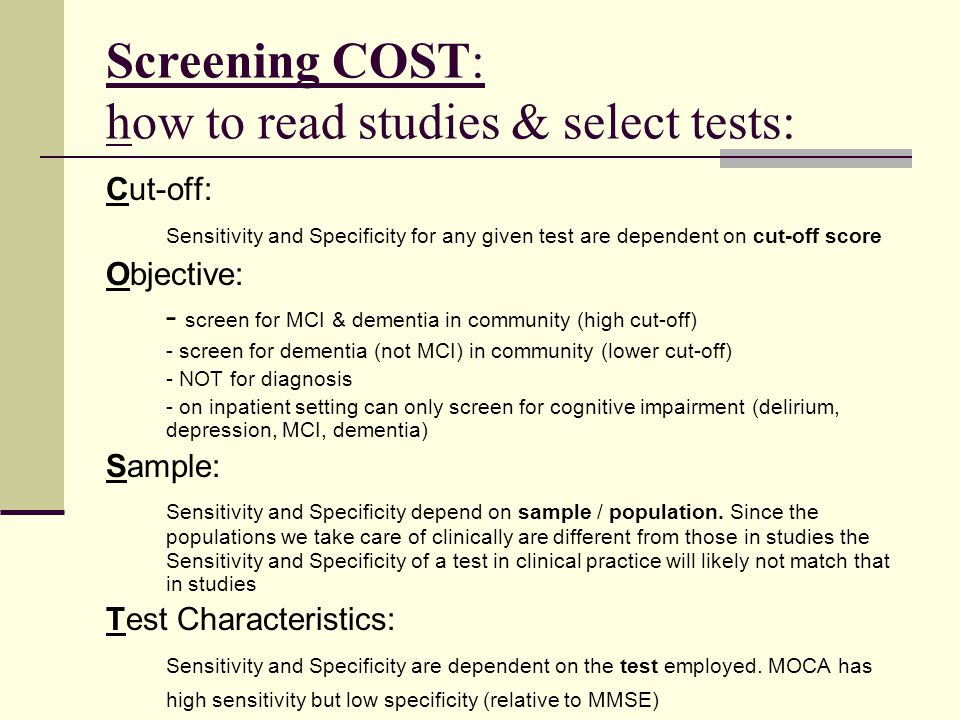 Screening COST: how to read studies & select tests: