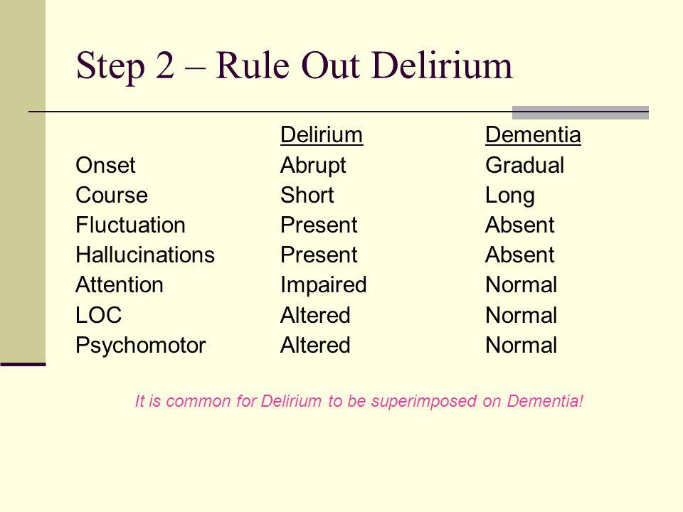 Step 2 – Rule Out Delirium