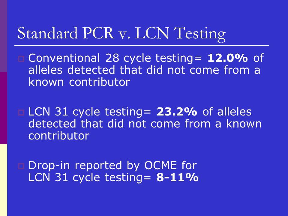 Standard PCR v. LCN Testing