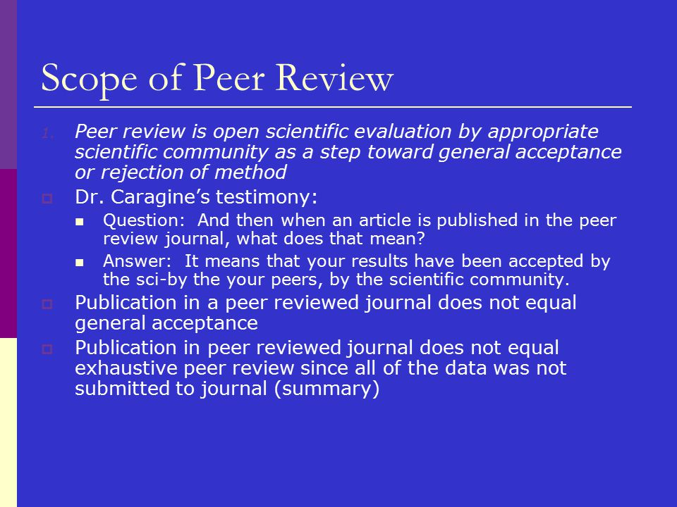 Scope of Peer Review