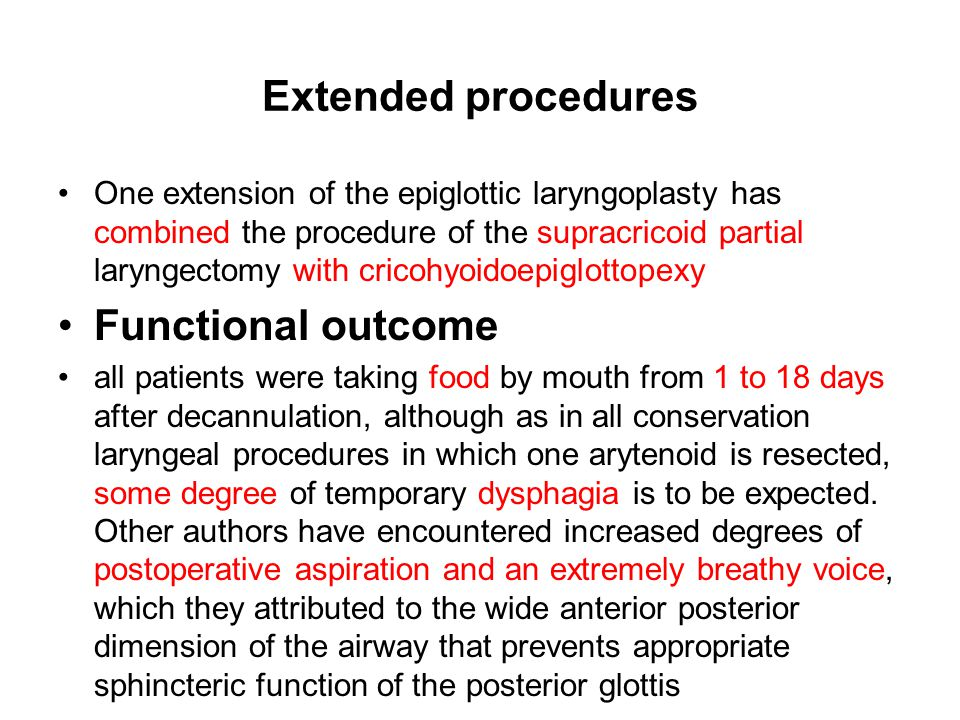 Extended procedures Functional outcome